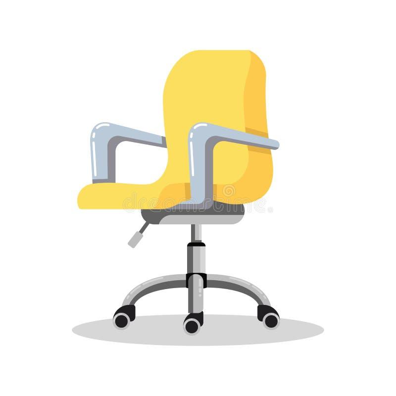 Chaise jaune lumineuse de bureau avec des roulettes Fauteuil réglable de taille de bureau Vue de c?t? illustration de vecteur