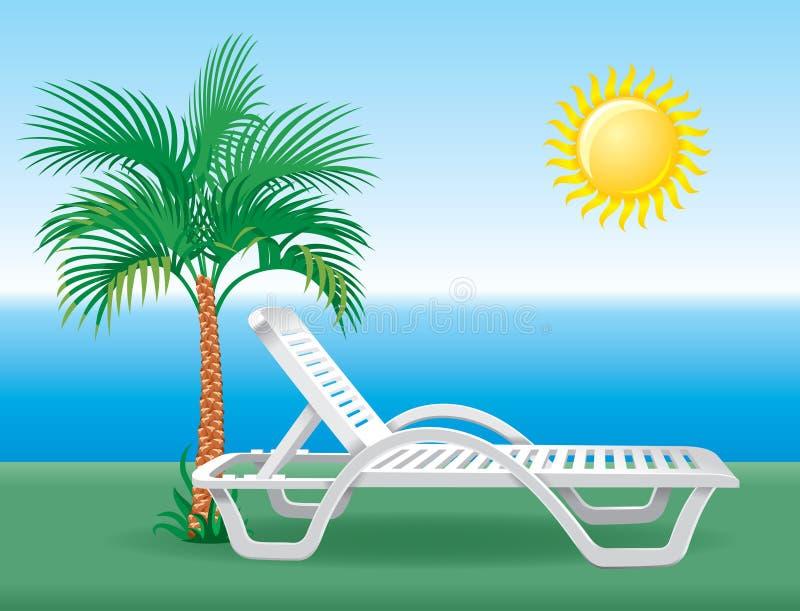 Chaise longue de plage avec le palmier tropical illustration libre de droits