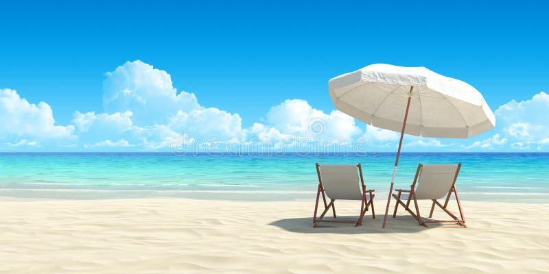 Chaise longue ed ombrello sulla spiaggia della sabbia. fotografia stock