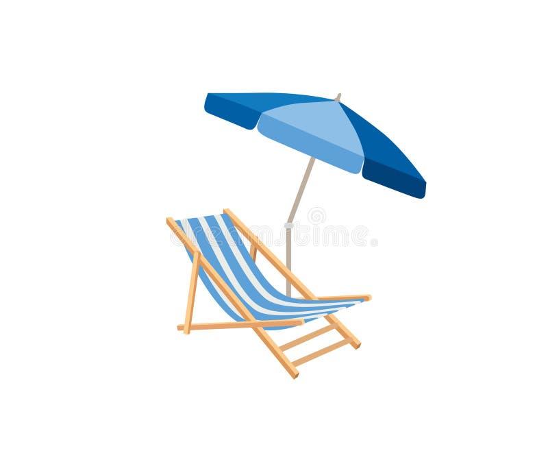 Chaise longue, parasol Symbole de station balnéaire d'été de chaise de plate-forme des vacances illustration de vecteur