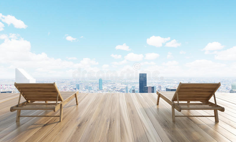 Chaise longues New York. Wooden ground with two chaise longues and New York city in the background. 3D Rendering vector illustration