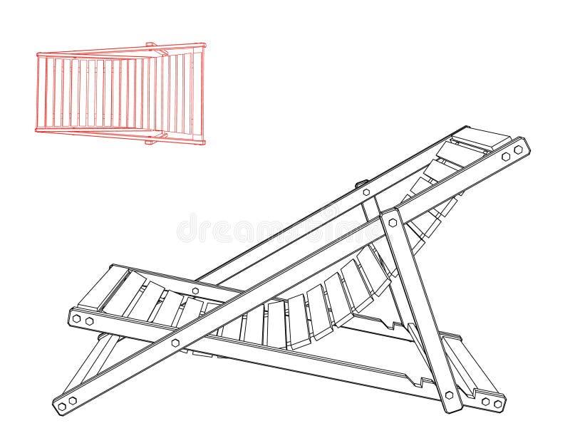 Chaise Lounge bakgrund isolerad white Vektoröversikt dåligt vektor illustrationer