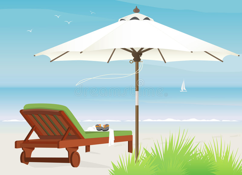 Chaise Lounge at Beach vector illustration