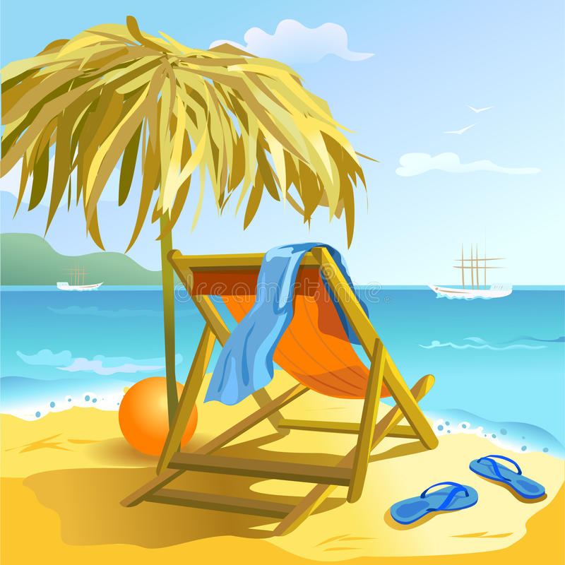 Chaise lounge on the beach royalty free illustration
