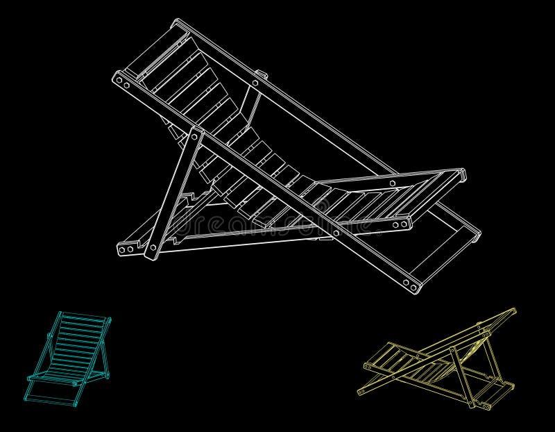 Chaise Lounge Isolerat på svart bakgrund Vektoröversikt dåligt stock illustrationer