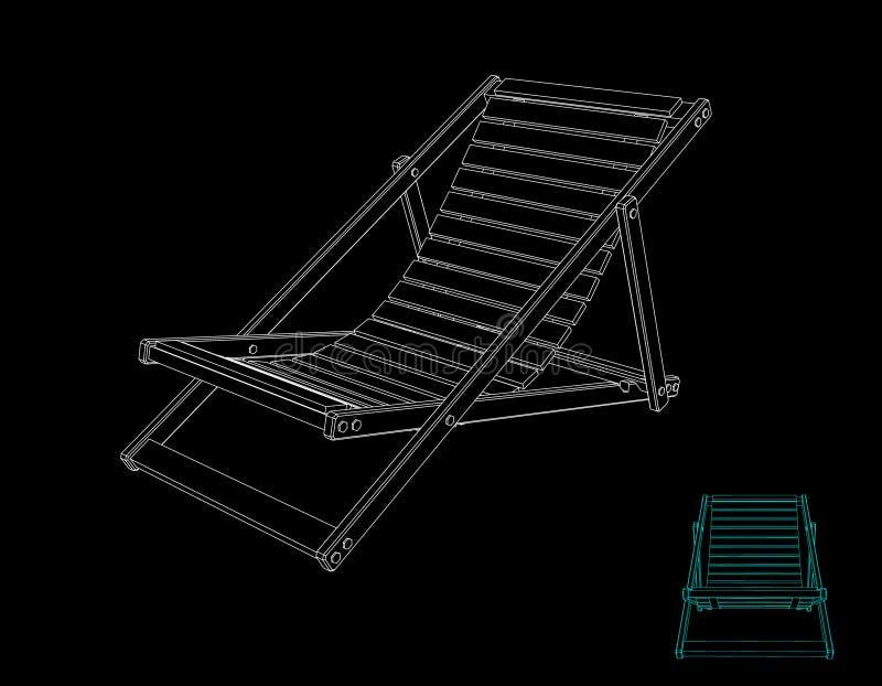 Chaise Lounge Isolerat på svart bakgrund Vektoröversikt dåligt royaltyfri illustrationer