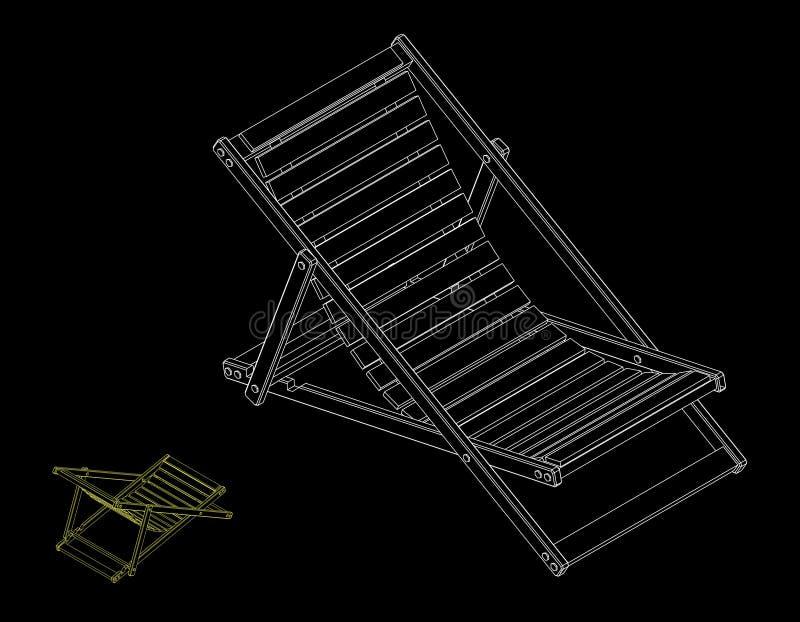 Chaise Lounge Isolerat på svart bakgrund Vektoröversikt dåligt vektor illustrationer