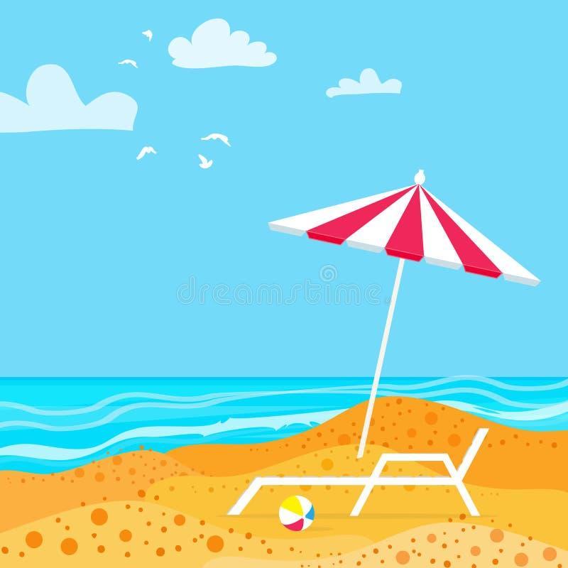 Chaise Lounge med slags solskyddparaplyet hav Bakgrund för semester för sommarsemesterort stock illustrationer
