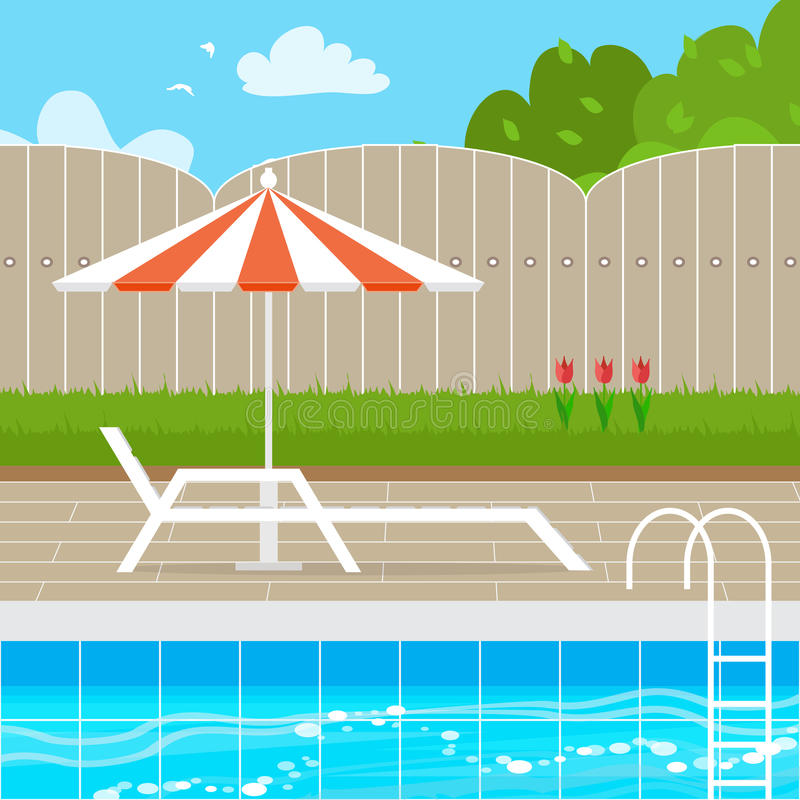 Chaise Lounge med slags solskyddparaplyet nära simbassängen stock illustrationer