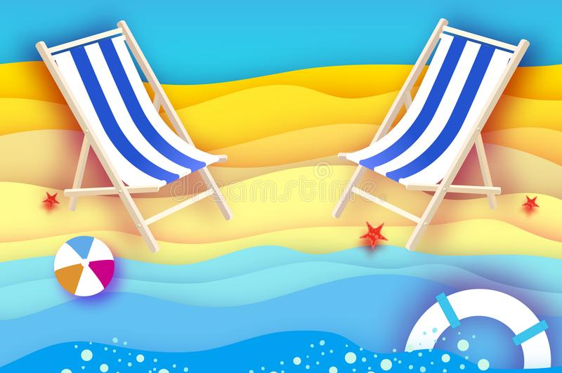 Chaise Lounge Origamihav och strand Sportbollspel Flipflopsskor lifesaver sjöstjärna Semester och loppbegrepp vektor illustrationer