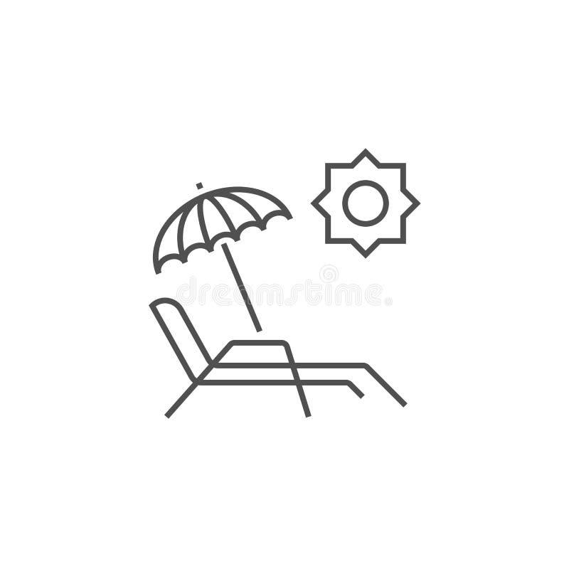 Chaise Lounge Related Vector Line symbol vektor illustrationer