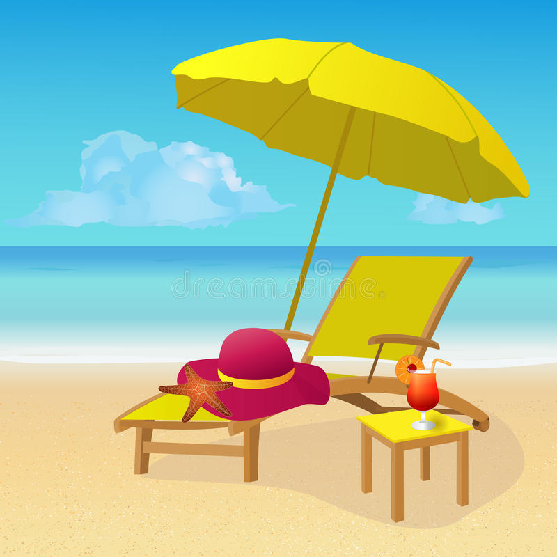 Chaise lounge with umbrella on idyllic tropical sandy beach stock download chaise lounge with umbrella on idyllic tropical sandy beach stock vector illustration of voltagebd Choice Image