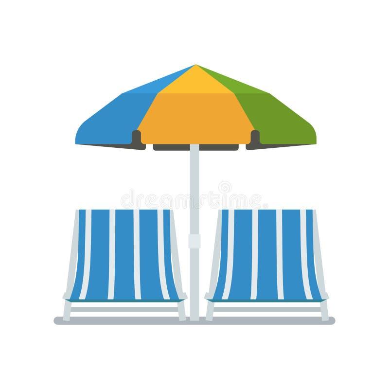 Chaise Lounges och solparaply royaltyfri illustrationer