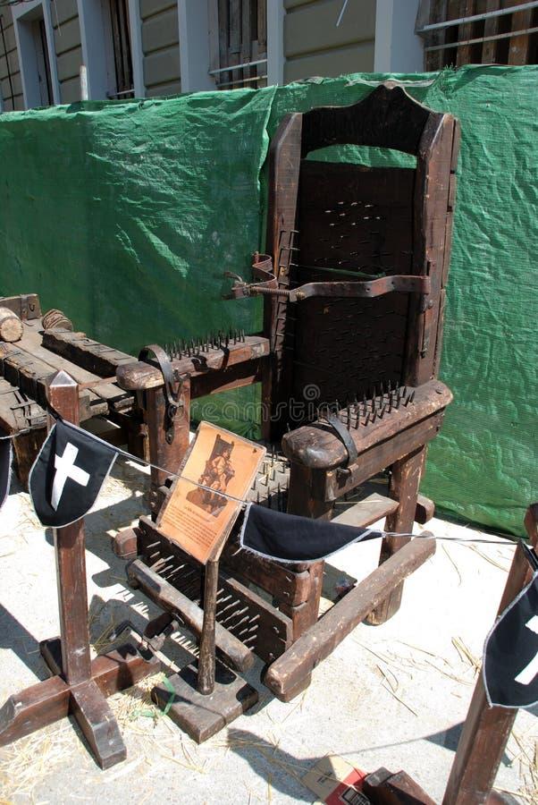 Chaise médiévale de torture, Espagne photo stock