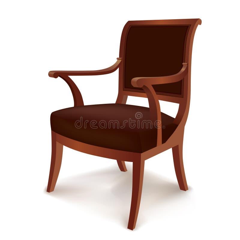 Chaise Meubles de vintage dans le rétro style d'isolement illustration de vecteur