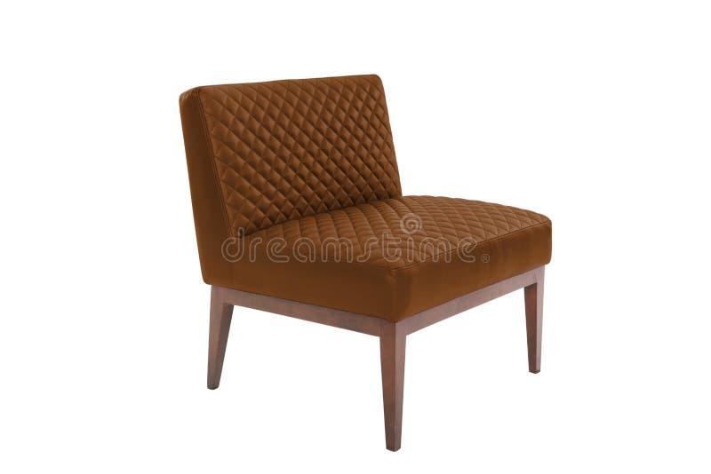 Chaise moderne de concepteur de fauteuil en cuir et en bois sur le fond blanc photo stock