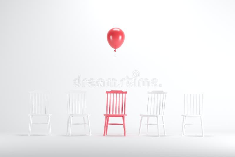 Chaise rouge avec flotter le ballon rouge parmi les chaises blanches sur le fond blanc illustration de vecteur