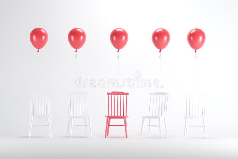 Chaise rouge avec flotter les ballons rouges parmi la chaise blanche sur le fond blanc illustration de vecteur
