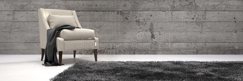 Chaise simple dans un salon architectural moderne illustration de vecteur