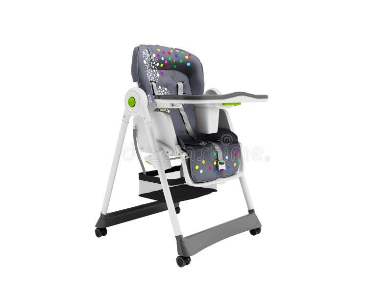 Chaise soignante de bébé avec les bâtis mous de literie et de sécurité avec la table 3d ne rendre sur le fond blanc aucune ombre illustration de vecteur