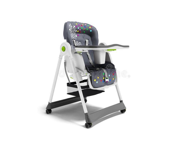 Chaise soignante de bébé avec les bâtis mous de literie et de sécurité avec la table 3d rendre sur le fond blanc avec l'ombre illustration de vecteur
