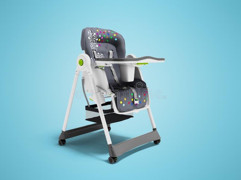 Chaise soignante de bébé avec les bâtis mous de literie et de sécurité avec la table 3d rendre sur le fond bleu avec l'ombre illustration libre de droits
