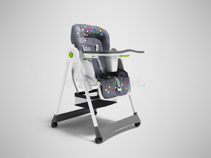 Chaise soignante de bébé avec les bâtis mous de literie et de sécurité avec la table 3d rendre sur le fond gris avec l'ombre illustration libre de droits