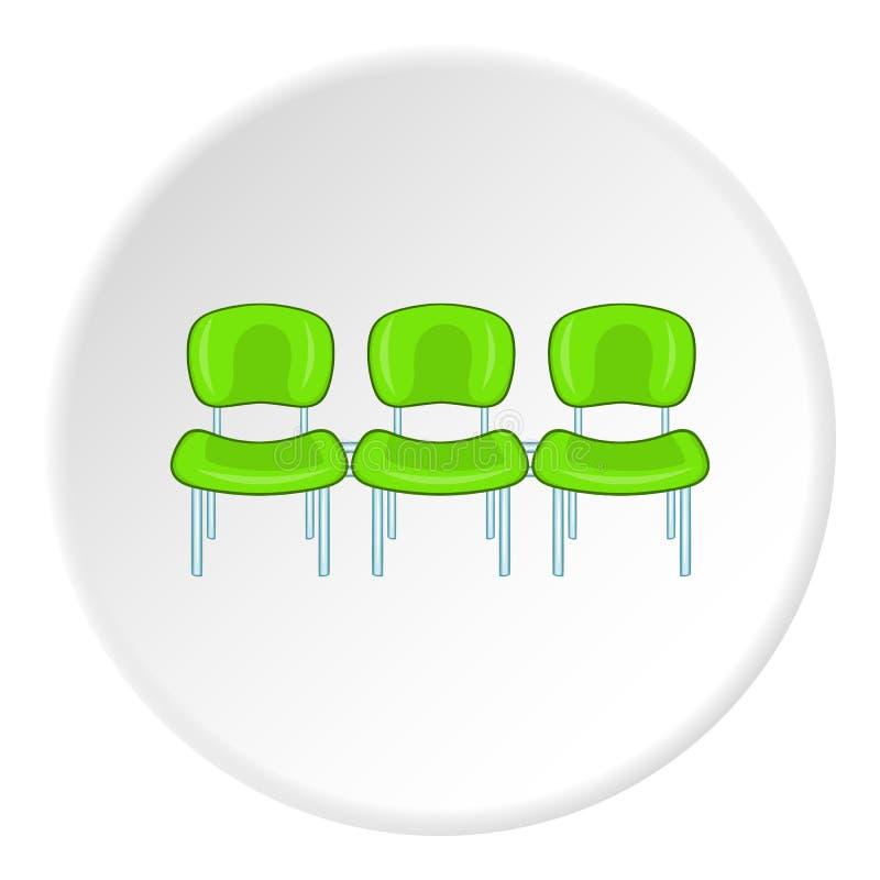 Chaises à l'icône d'aéroport, style de bande dessinée illustration stock
