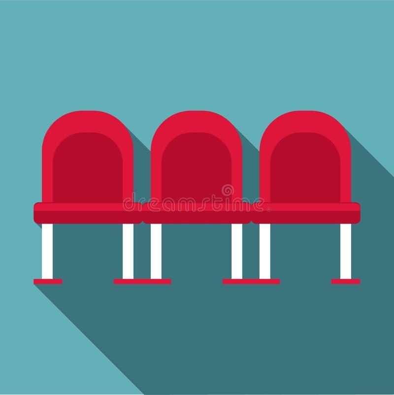 Chaises à l'icône d'aéroport, style plat illustration de vecteur