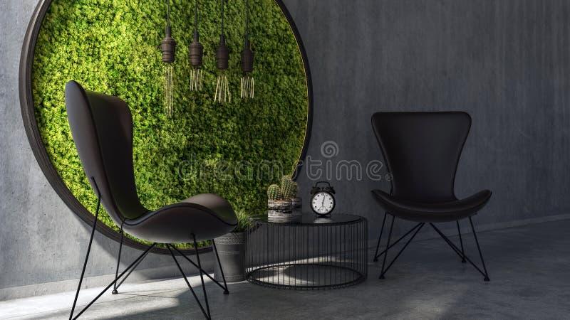 Chaises avec l'art se tenant prêt de mur de mousse de table basse illustration stock