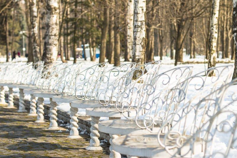 Chaises blanches en parc images libres de droits
