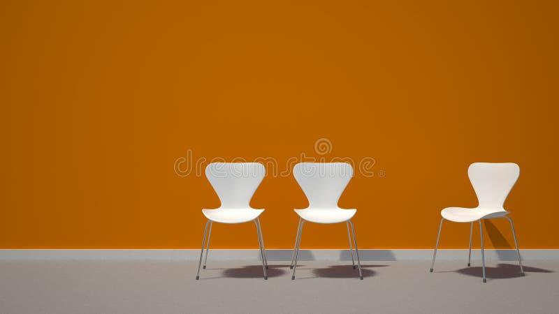 Chaises blanches sur le fond orange photo libre de droits