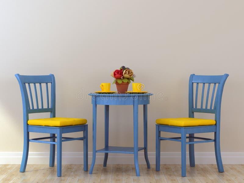 chaises bleues avec la table illustration stock. Black Bedroom Furniture Sets. Home Design Ideas