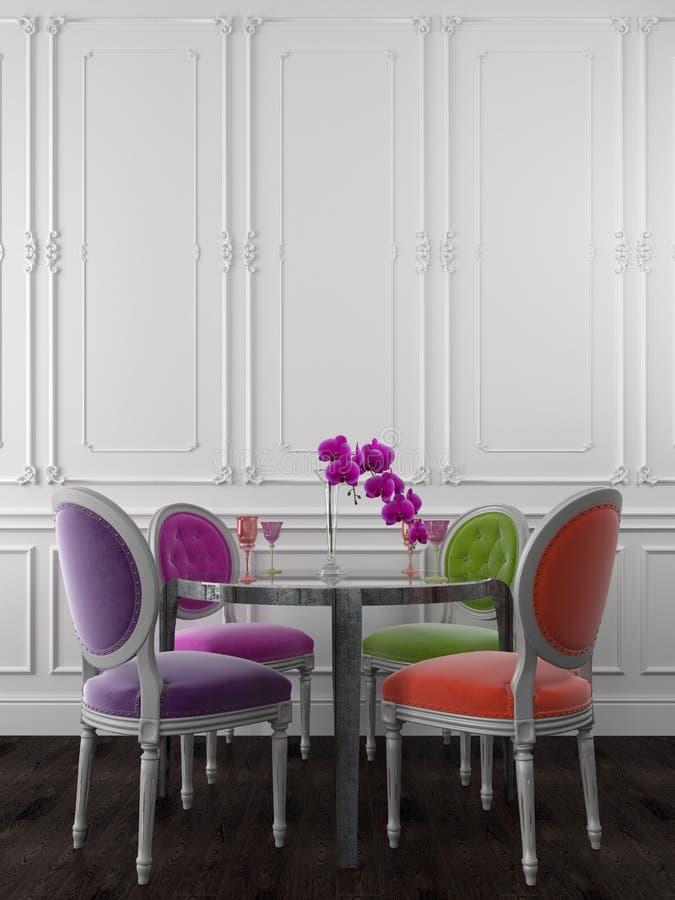 Chaises colorées à la table de dîner illustration libre de droits