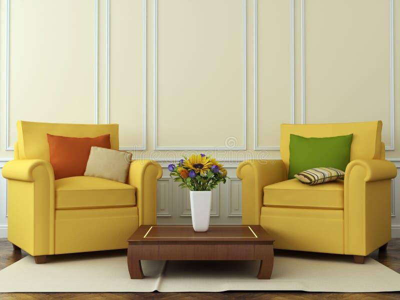 Chaises confortables avec des décorations d'automne illustration stock