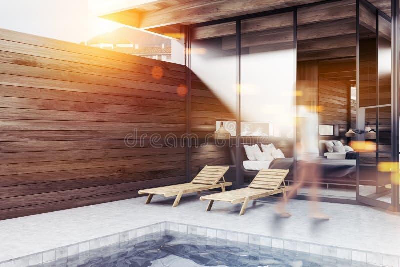 Chaises de plate-forme en bois foncées de coin de pool privé, fille illustration de vecteur