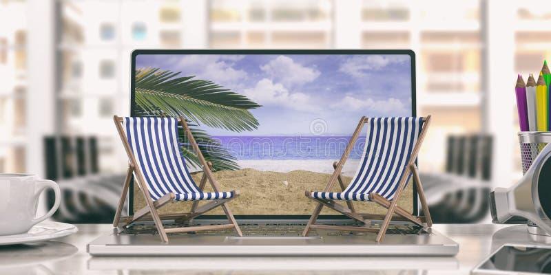 Chaises de plate-forme sur un ordinateur portable - fond de bureau illustration 3D photographie stock
