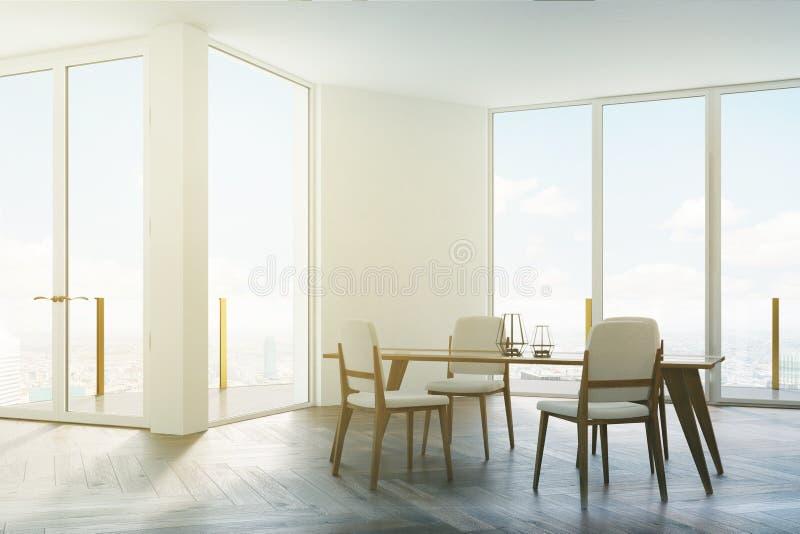 Chaises de salle à manger, blanches et en bois blanches modifiées la tonalité illustration libre de droits