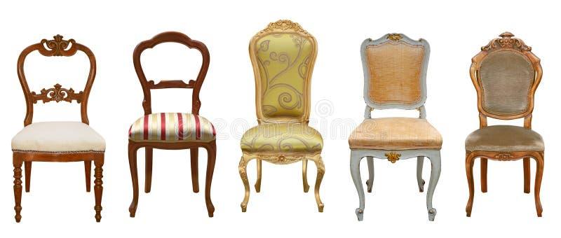 Chaises de vintage d'isolement photographie stock libre de droits