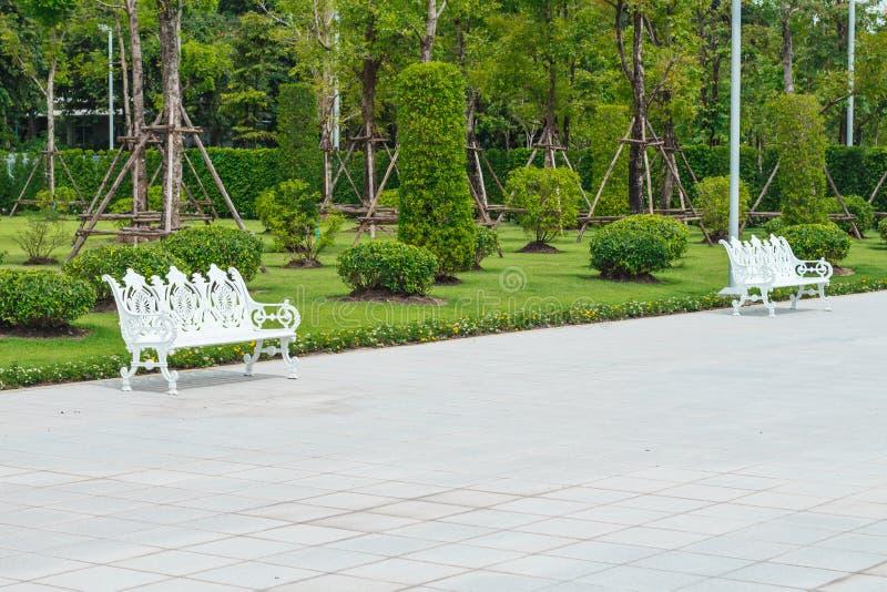 Chaises en métal blanc en parc pour se reposer et repos photos stock