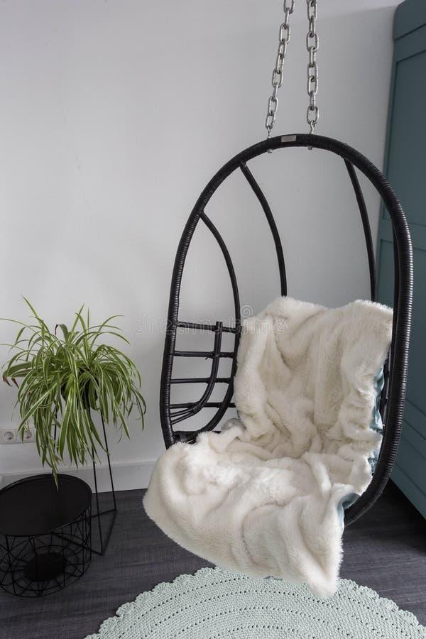 Chaises en osier accrochantes pour détendre le temps dans la chambre, conception moderne image stock