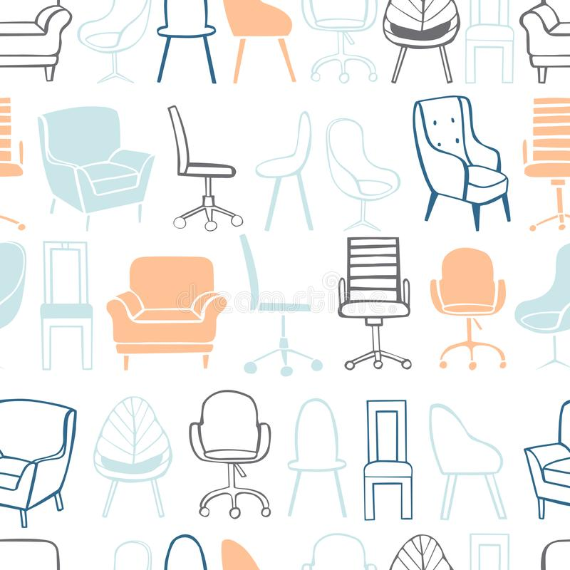 Chaises et fauteuils de bureau Configuration de vecteur illustration stock