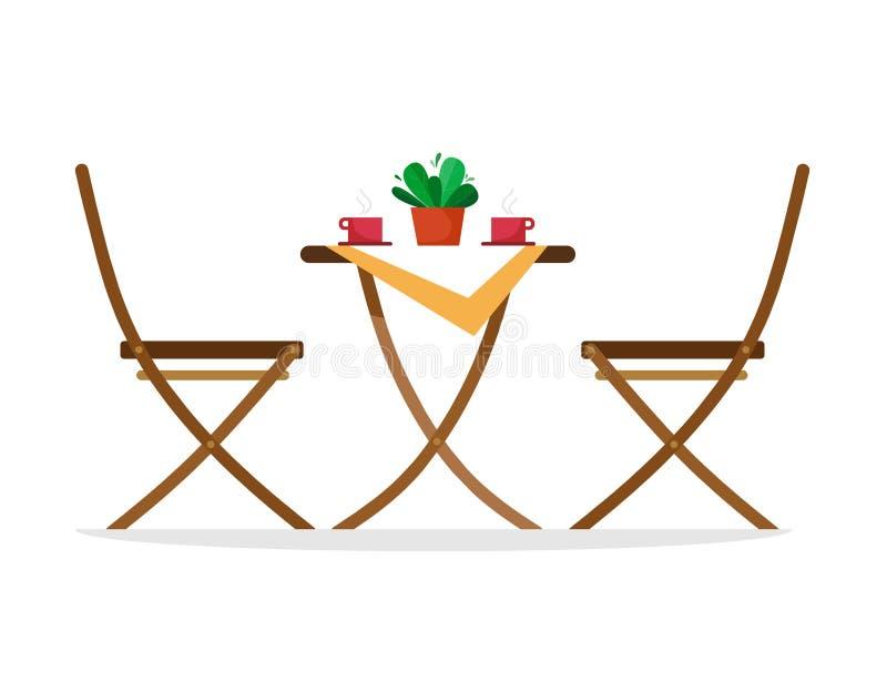 Chaises et une table avec les tasses de café chaudes sur la table Isolat d'illustration de vecteur sur un fond blanc illustration stock