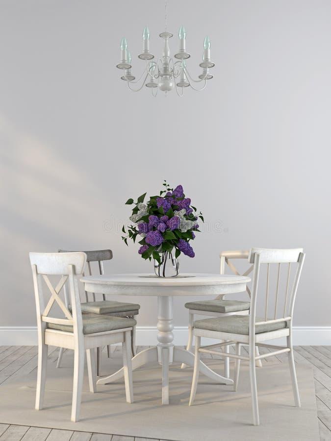 Chaises minables et la table de salle à manger avec un bouquet des lilas illustration libre de droits