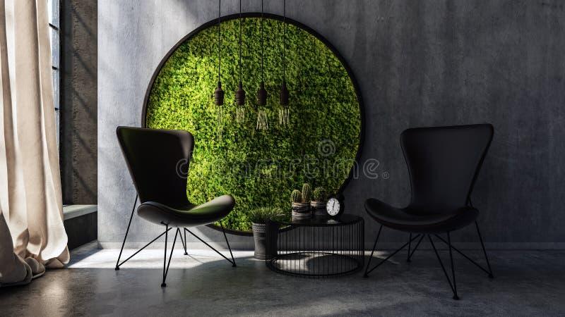 Chaises se tenant prêt le mur avec l'art rond de mousse illustration libre de droits