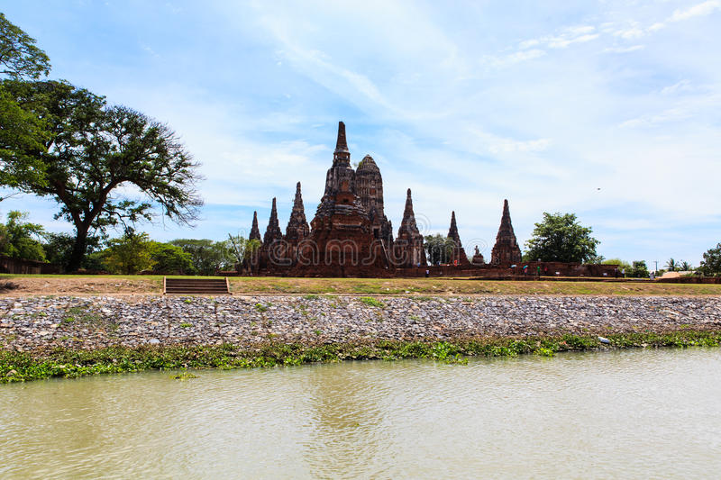 Chaiwatthanaram temple at Ayutthaya in Thailand. And most famous for tourist take photo from the river stock photography