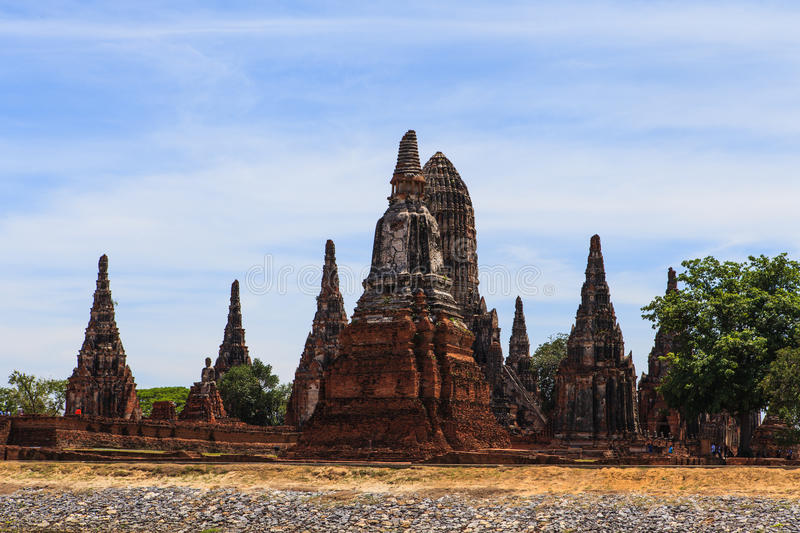 Chaiwatthanaram temple at Ayutthaya in Thailand. And most famous for tourist take photo from the river stock photo