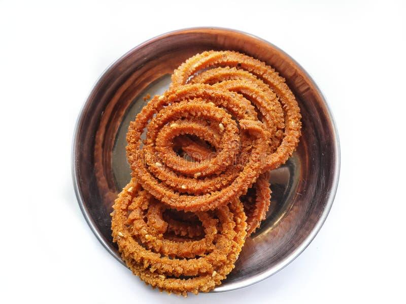 Chakali o murukku dello spuntino di Diwali fotografie stock libere da diritti