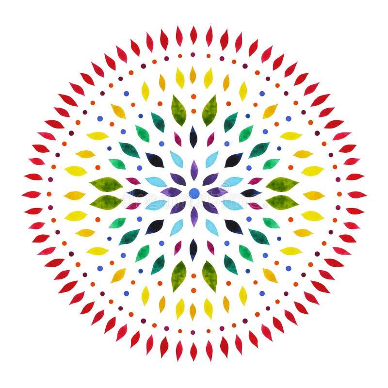 7 chakra坛场标志概念的颜色,开花花卉,水彩绘画 皇族释放例证
