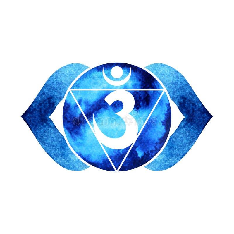 chakra标志三只眼概念的靛蓝颜色,开花花卉 库存例证